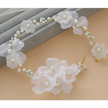 Bohemian Flowers Pearl Garland Bridal Wedding/Sweet Sixteen/Flower Girl/Quinceanera Crown Headdress
