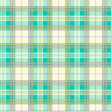Blue Mountain Wallcoverings Blue Mountain Plaid Wallcovering, Bright Blue/Green