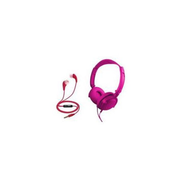 Coby CVH-807-PNK 2 in 1 Headphones & Earbuds with Built-In Mic (Pink)