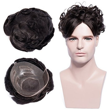 Toupee Human Hair Wig Thin Skin Base Wigs Men Toupee 100% Indian Human Hair 77g # 1B Natural Black