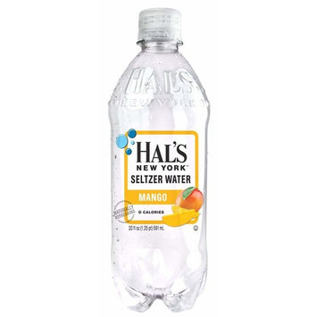 Hal's NY Seltzer Water 20 Oz Bottles (Pack of 24) (Mango)