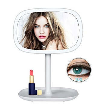 Solofish Make Up Lighted Mirror with 10X Magnifying Mirror, 2 in 1 Night Lights Lamp and Light Bar Countertop Makeup Mirror Detachable Portable Travel Mirror 360 Degree Free Rotation Cosmetic Mirror