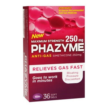 Phazyme Maximum Strength 250mg Anti-Gas Simethicone Soft Gels 36 ea(pack of 3)