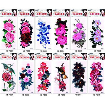 Grashine 12pcs temporary tattoos in one package,it including Sparrow,Yellow bird,various colorful roses,peony,etc.