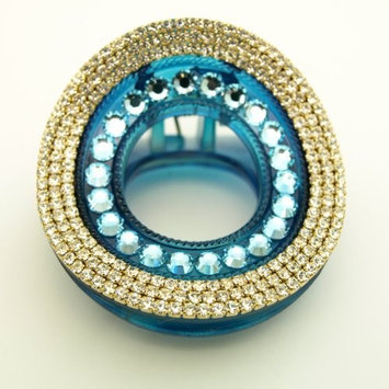 Glam Round Rhinestone & Crystal Turquoise Hair Claw