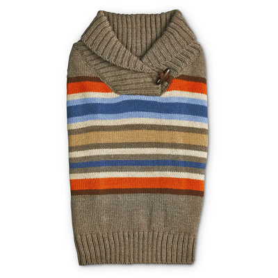 Bond & Co. Striped Shawl Collar Dog Sweater, X-Large, Tan