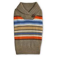 Bond & Co. Striped Shawl Collar Dog Sweater, Large, Tan