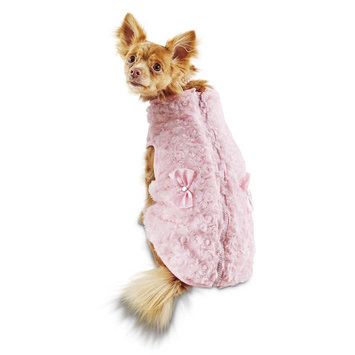 Bond & Co. Pink Faux Fur Bomber Jacket for Dogs, Small