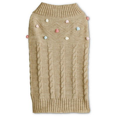Bond & Co. Oatmeal Knit Dog Sweater with Confetti Poms, XX-Small, Tan