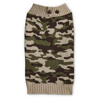 Bond & Co. Camo Dog Sweater with Button Collar, Large, Green