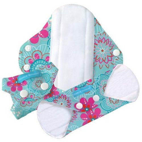 Charlie Banana Reusable Feminine Pad - Regular Absorbency - Floriana 3pk