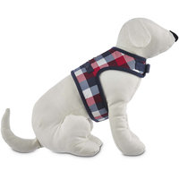 Bond & Co. Red, Navy and Gray Check Shearling Wrap Harness, XX-Small