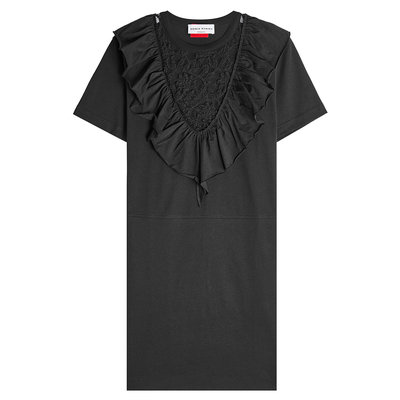 Cotton Dress with Ruffled Lace Panel Gr. M