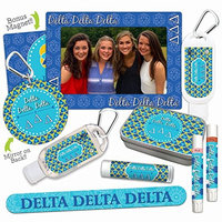 Delta Delta Delta—Platinum Variety Set—Magnet Frame, 2 Lip Shimmers, Nail File, Mint Tin, Mirror, Lip Balm, Sanitizer, Lotion