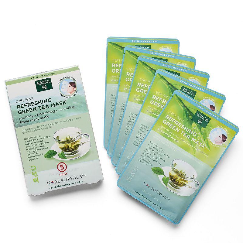 Earth Therapeutics 5-pk. Refreshing Green Tea Face Masks, Multicolor