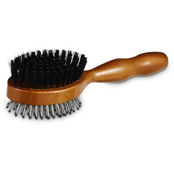 Well & Good Wooden Pin and Bristle Dog Brush for All Coats, Small