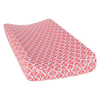 Trend Lab Coral/White Floral Shell Changing Pad Cover