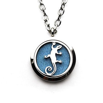 Aromatherapy Antiqued Necklace for Essential Oils Animal Gecko Diffuser Hollow Solid Locket Pendant 10 Felt Pads
