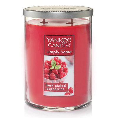 Yankee Candle simply home Fresh Picked Raspberries 19-oz. Candle Jar, Med Red