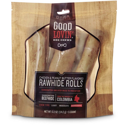 Good Lovin' Chicken and Peanut Butter Flavored Rawhide Roll Dog Chews, 13.2 oz.