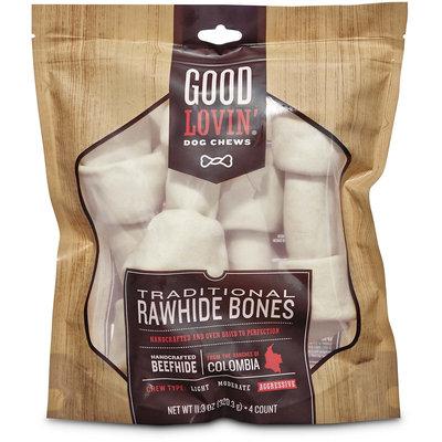 Good Lovin' Traditional Rawhide Bone Dog Chews, 6-inch, Pack of 4