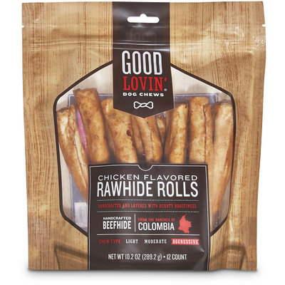 Good Lovin' Chicken Flavored Rawhide Roll Dog Chews, 10.2 oz.