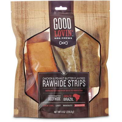 Good Lovin' Chicken and Peanut Butter Flavored Rawhide StripDog Chews, 8 oz.