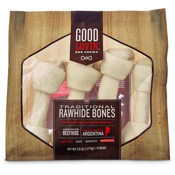 Good Lovin' Traditional Rawhide Bone Dog Chews, 12-inch, Pack of 4