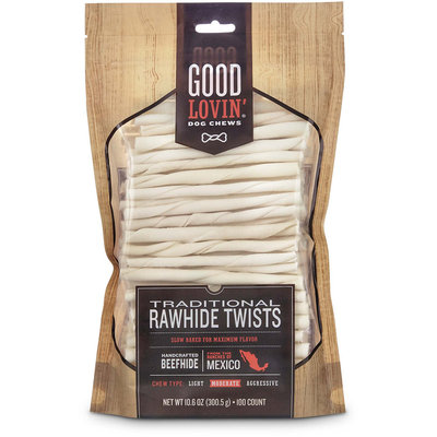 Good Lovin' Traditional Rawhide Twist Dog Chews, Pack of 100