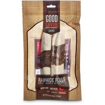 Good Lovin' Beef Jerky Wrapped Rawhide Roll Dog Chews, 7-inch, Pack of 2