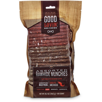 Good Lovin' Assorted Rawhide Munchie Dog Chews, 5-inch, Pack of 100