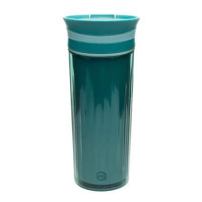 Zak Designs Fluted 16 oz Vacuum-Insulated Travel Tumbler - Teal Sage