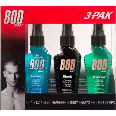 BOD Man Blue Surf/Black/Fresh Guy Fragrance Body Sprays, 1.8 fl oz, 3 count