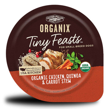 Castor & Pollux Organix Tiny Feasts Organic Chicken Quinoa and Carrot Stew Wet Dog Food, 3.5 oz, case of 24