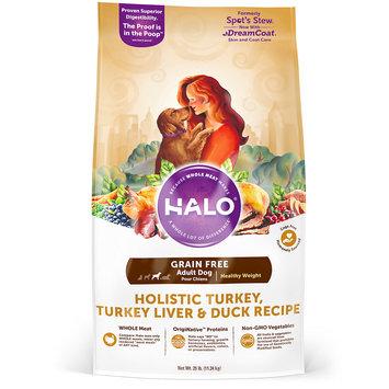 Halo Grain Free Healthy Weight Holistic Turkey, Turkey Liver and Duck Dry Dog Food, 25 lbs