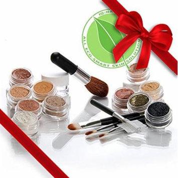 Mineral Makeup Samples Set with 5 piece Black Brush Kit.