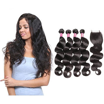 ALi Queen 5A 4 Bundles Brazilian Body Wave Remy Hair Bundles with Body Wave 4x4 Lace Closure Double Weft Curly Human Hair Natural Black(22 22 24 24 + 16 inch Free Part Closure)