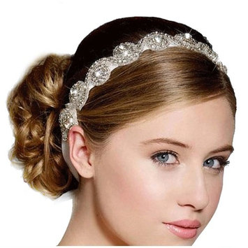 Urberry Luxury Handmade Crystal Rhinestone Jewelry Beads Bridal Wedding Evening Pageants Proms Birthday Christmas Gift Headband Satin Ribbon Hiarband Headwrap Hair Band Accessory White
