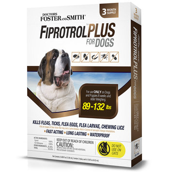 Drs. Foster And Smith Doctors Foster + Smith Fiprotrol Topical Flea & Tick Control For Dogs 89 to 132 lbs, 3 pack