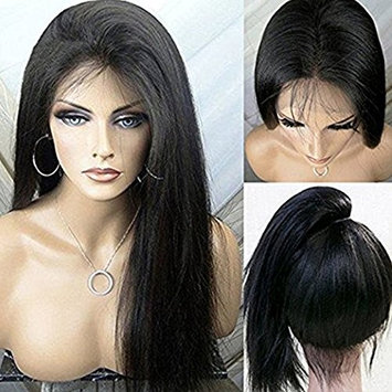 PlatinumHair #1B YaKi Silky Straight Wigs Synthetic Lace Front Wigs Heat Resistant Glueless for Women Synthetic Wigs 24