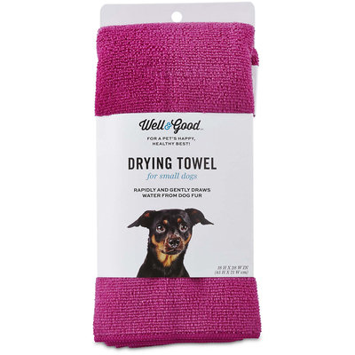 Well & Good Pink Drying Towel for Dogs, Small