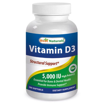Best Naturals Vitamin D3, 5000 IU, 180 Softgels