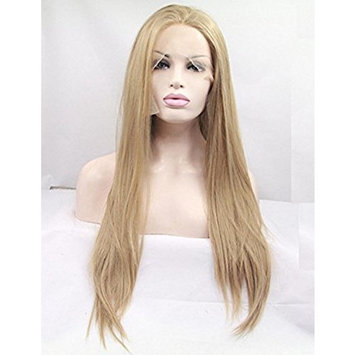 Realistic Looking Gloden Blonde Lace Front Wigs For Women Long Straight Synthtic Hair Wig Glueless Heat Resistant Fiber Handmade 26 inches
