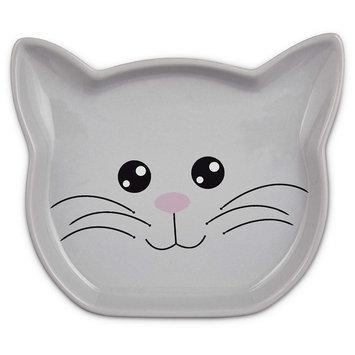 Harmony Ceramic Kitty Face Cat Saucer in Grey, Medium