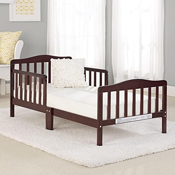 Big Oshi Contemporary Design Toddler & Kids Bed - Sturdy Wooden Frame for Extra Safety - Modern Slat Design - Great for Boys and Girls - Full Bed Frame With Headboard, Cherry [Toddler Bed]