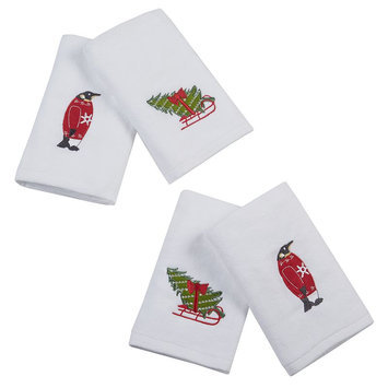 Jla Home HipStyle Tree Tidings White Cotton Embroidered Hand Towel (set of 4)