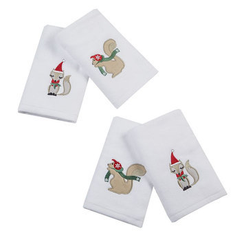 Jla Home HipStyle Eggnog Earmuff White Cotton Embroidered Hand Towel (set of 4)