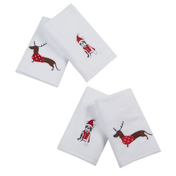 Jla Home HipStyle Dasher Dog White Cotton Embroidered Hand Towel (set of 4)