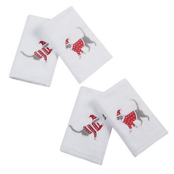 Jla Home HipStyle Caroling Cat White Cotton Embroidered Hand Towel (set of 4)