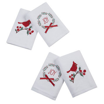Jla Home HipStyle Jingling Joy White Cotton Embroidered Hand Towel (set of 4)